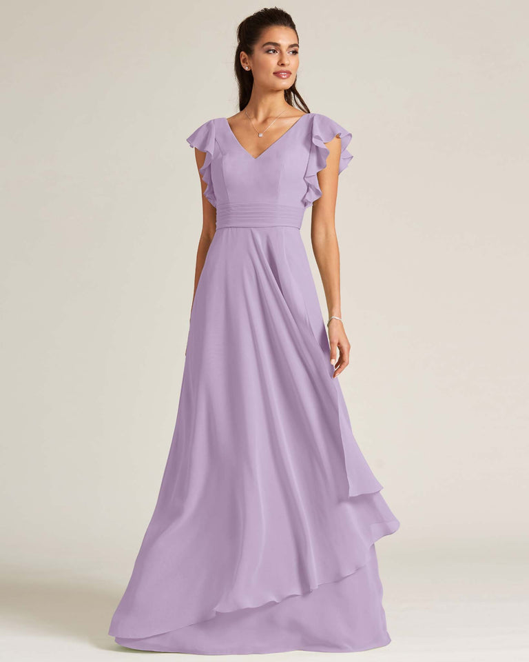 Tahiti Ruffled Cap Sleeve Formal Gown
