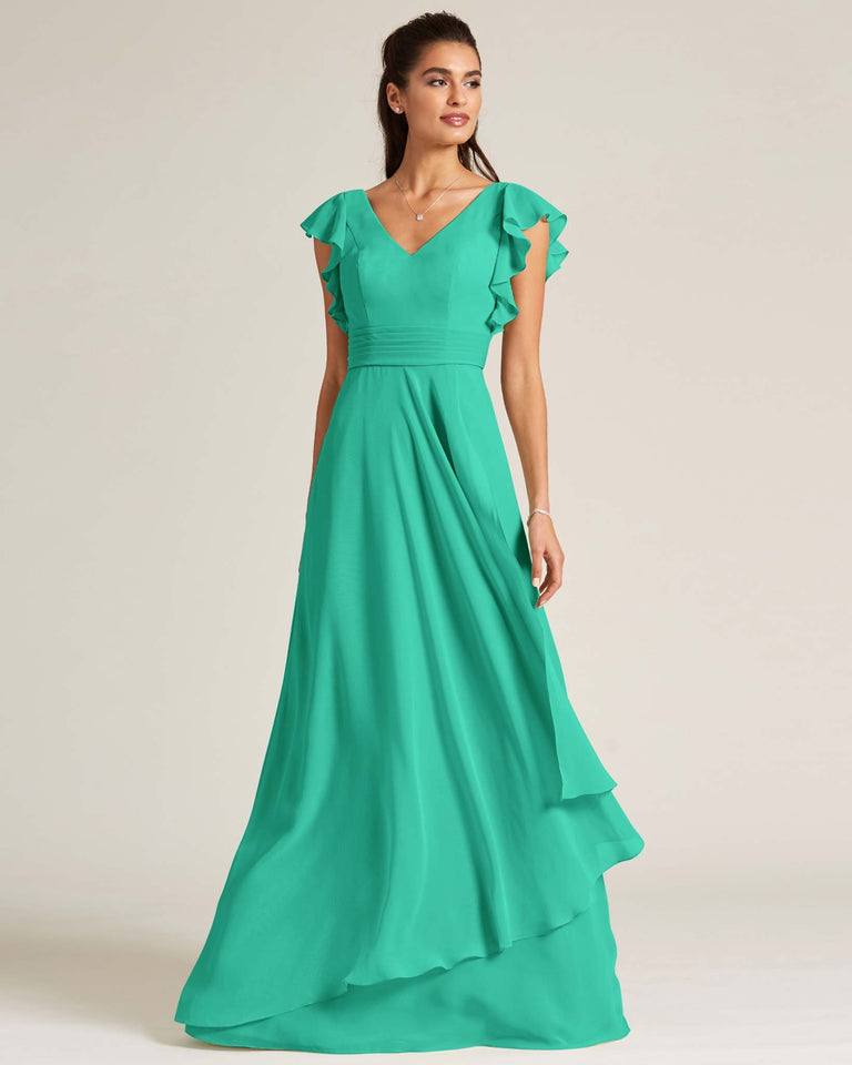 Turquoise Ruffled Cap Sleeve Formal Gown