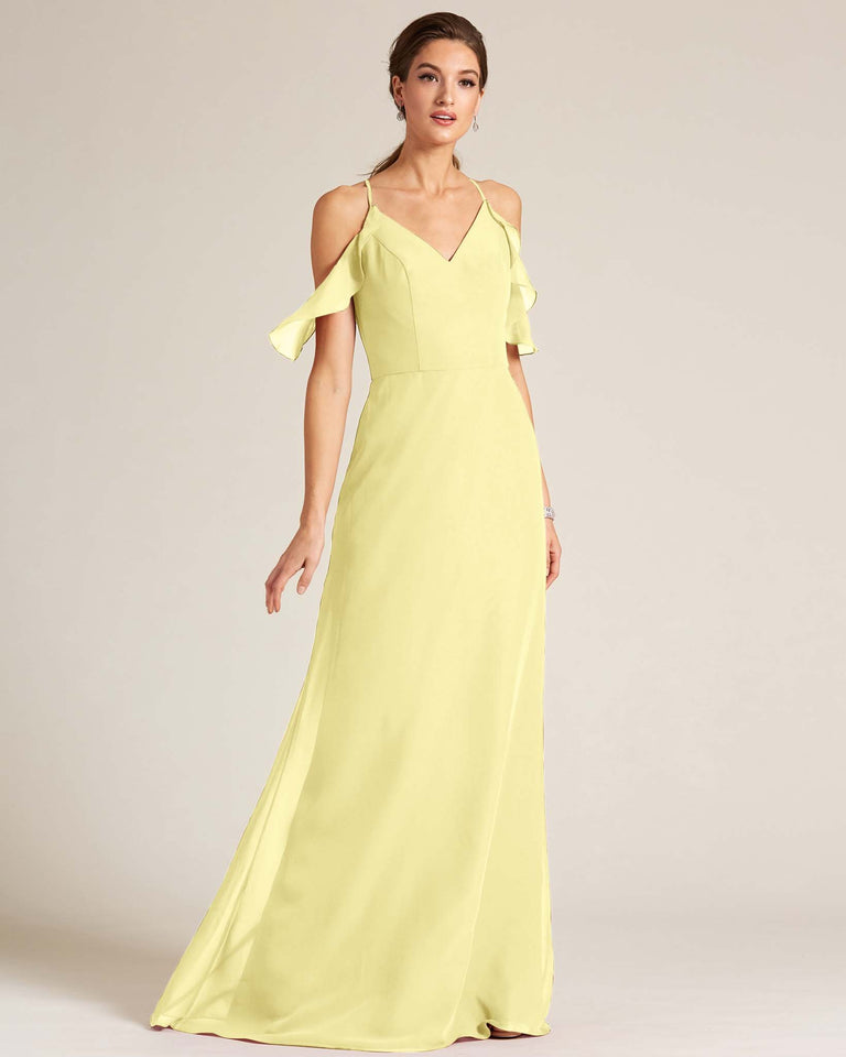 Daffodil V Neck Flounce Sleeve Dress
