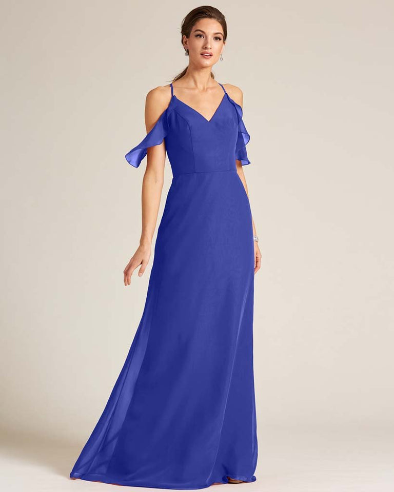 Royal Blue V Neck Flounce Sleeve Dress