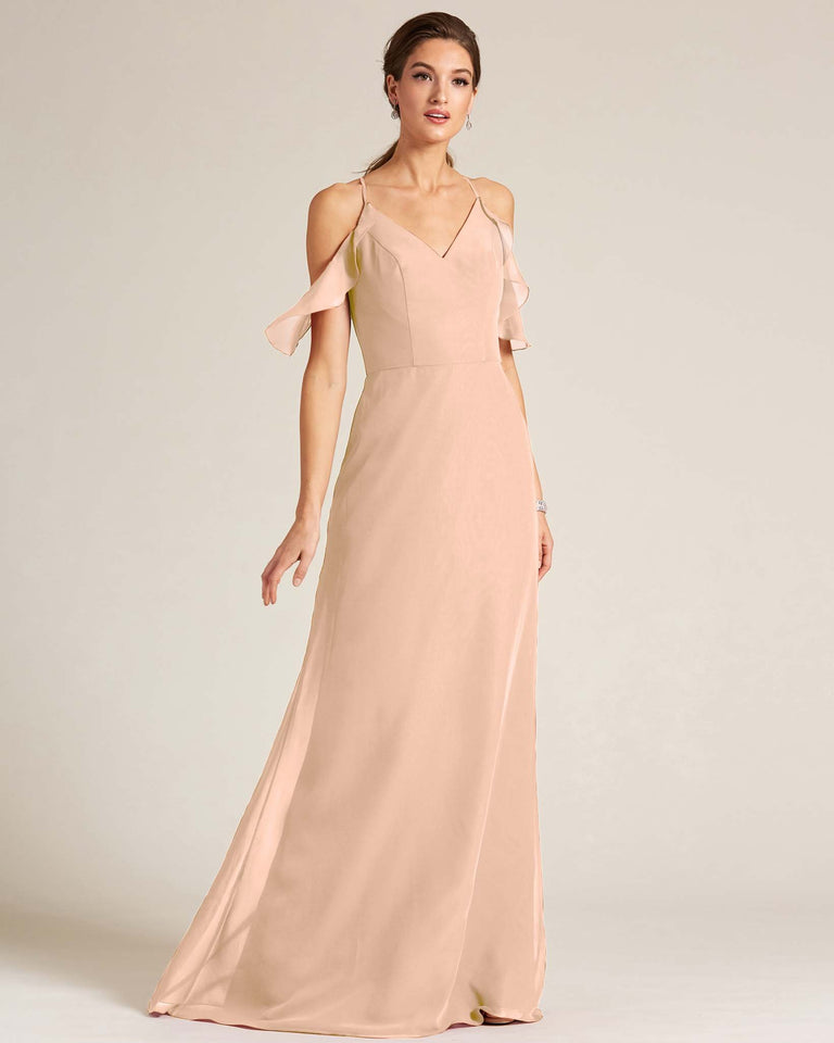 Peach V Neck Flounce Sleeve Dress