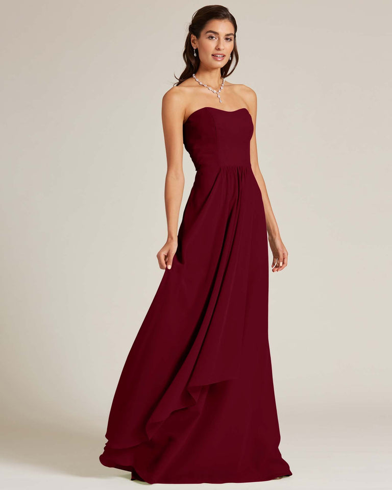 Burgundy Strapless Cut Out Back Dress