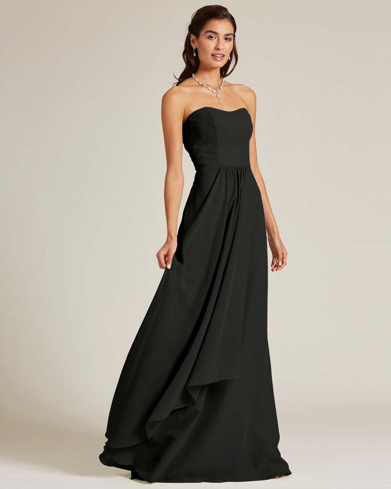 Black Strapless Cut Out Back Dress