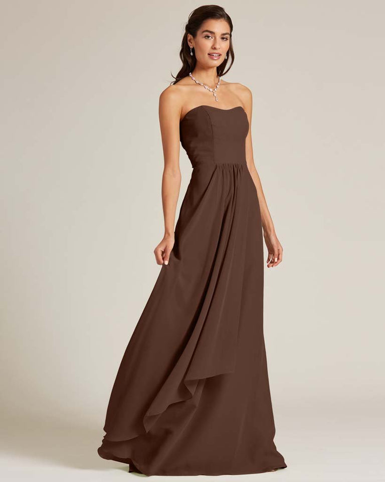 Chocolate Strapless Cut Out Back Dress