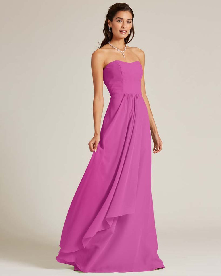Fuchsia Strapless Cut Out Back Dress