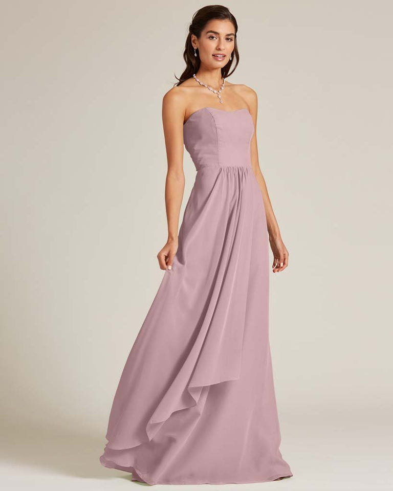 Vintage Mauve Strapless Cut Out Back Dress