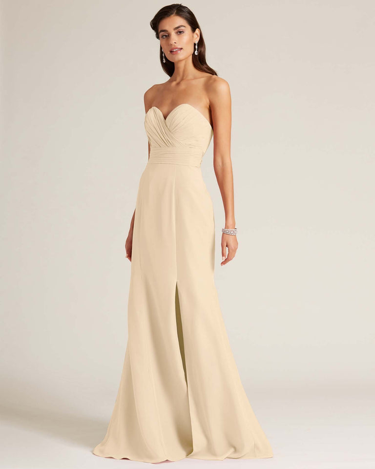 Champagne Strapless Bow Detail Evening Dress
