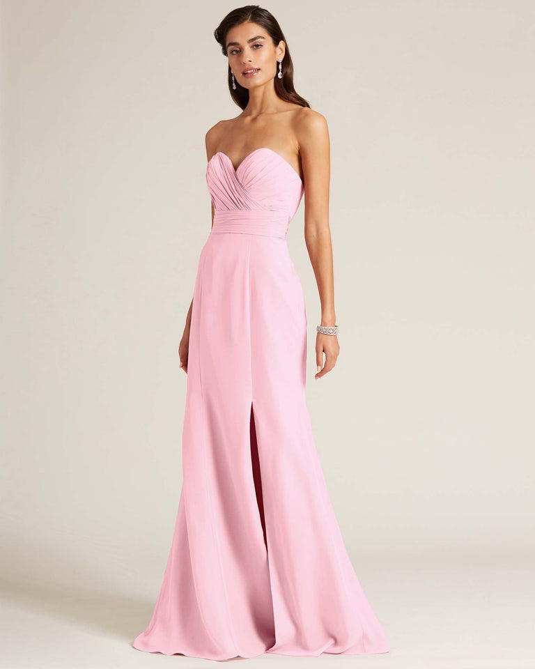 Cherry Blossom Strapless Bow Detail Evening Dress