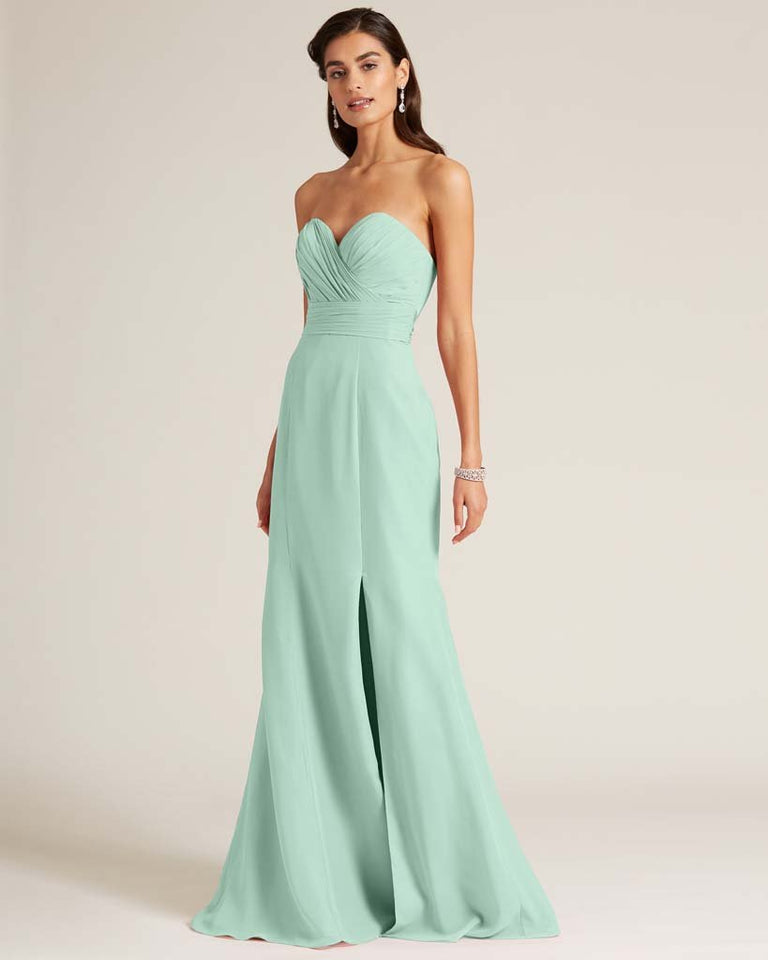 Mint Green Strapless Bow Detail Evening Dress