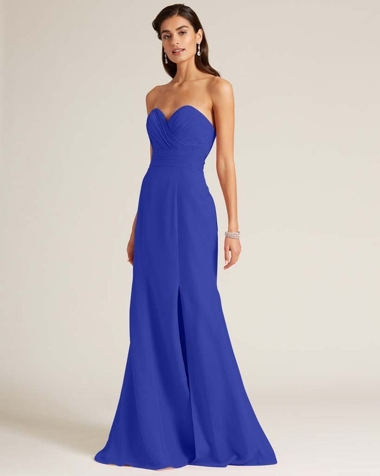 Royal Blue Strapless Bow Detail Evening Dress