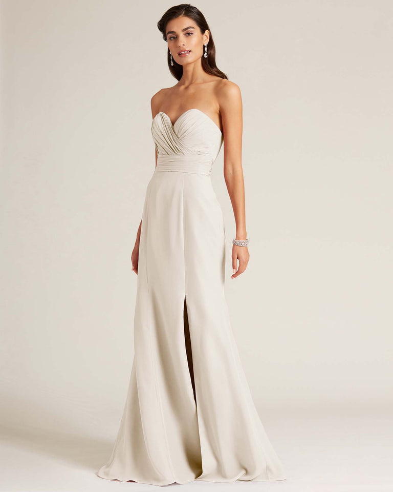 Frost Strapless Bow Detail Evening Dress