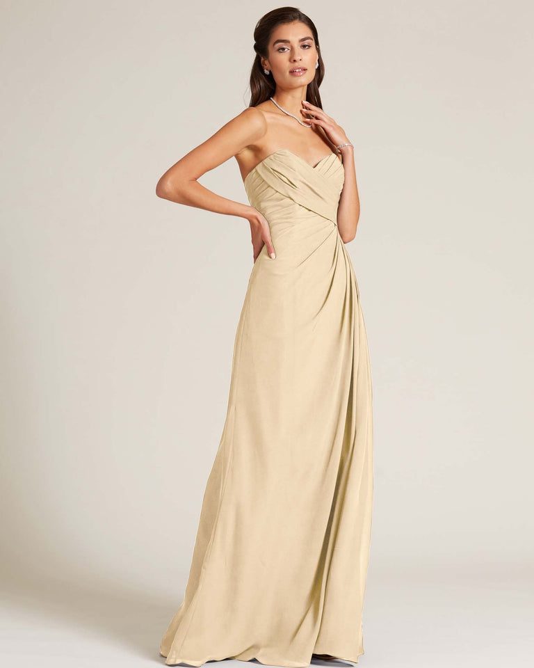Champagne Strapless Sweetheart Neckline Gown