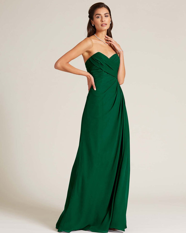 Dark Green Strapless Sweetheart Neckline Gown