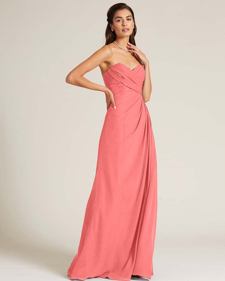 Watermelon Strapless Sweetheart Neckline Gown
