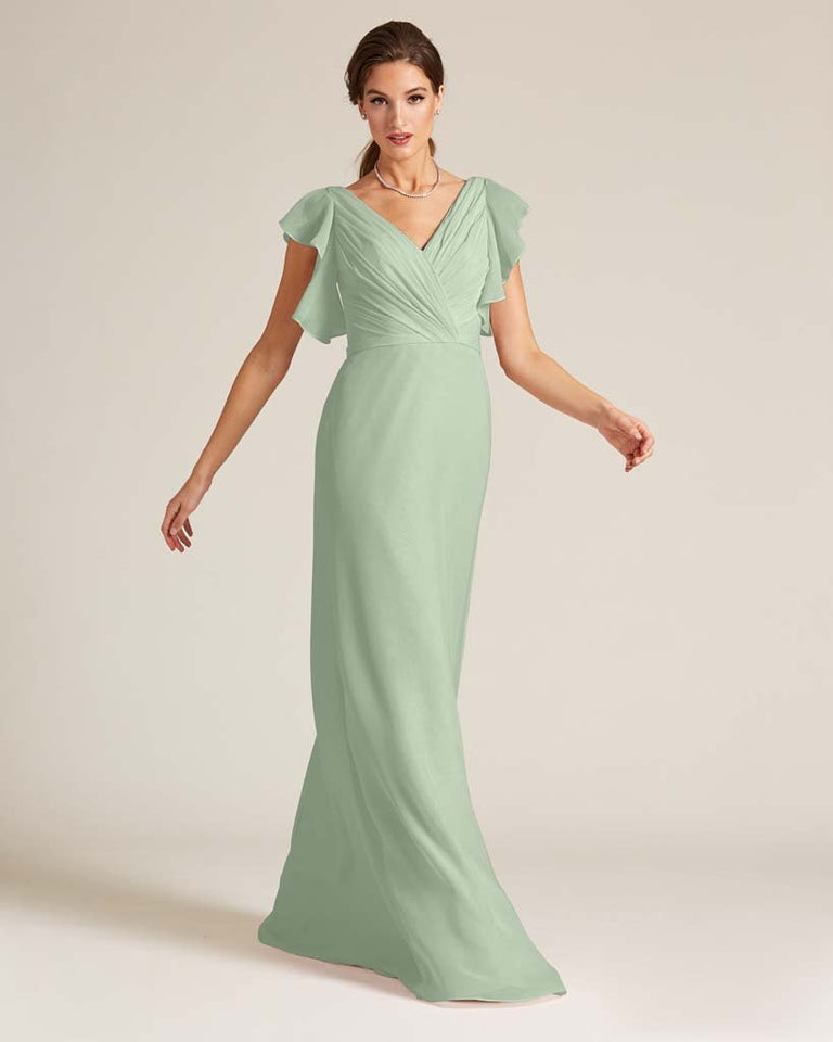 Celadon V Neck Ruffled Sleeves Dress