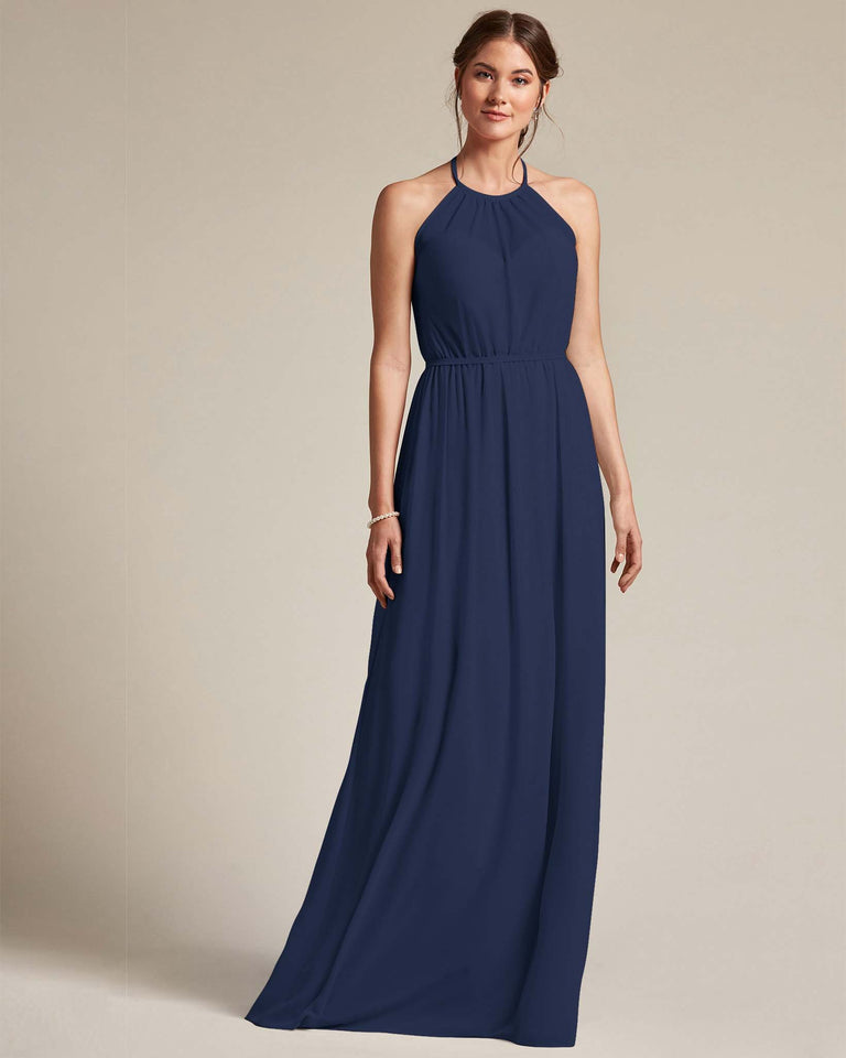 Dark Navy Sheer Halter Top Bridesmaid Gown With Long Length Chiffon Skirt