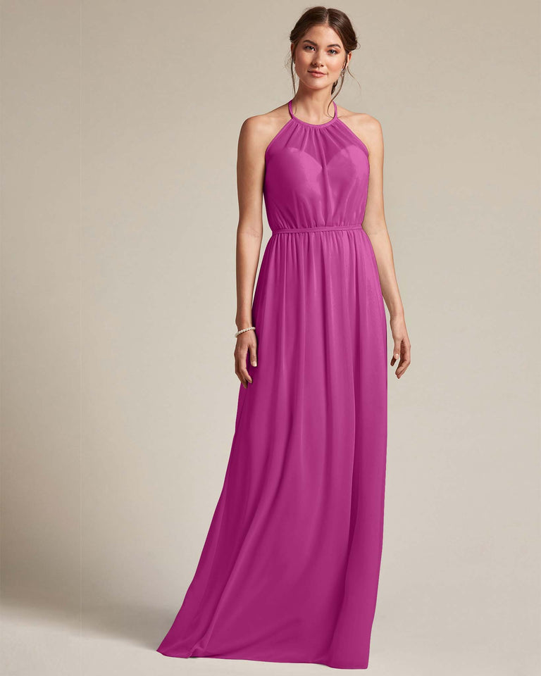 Fuchsia Sheer Halter Top Bridesmaid Gown With Long Length Chiffon Skirt