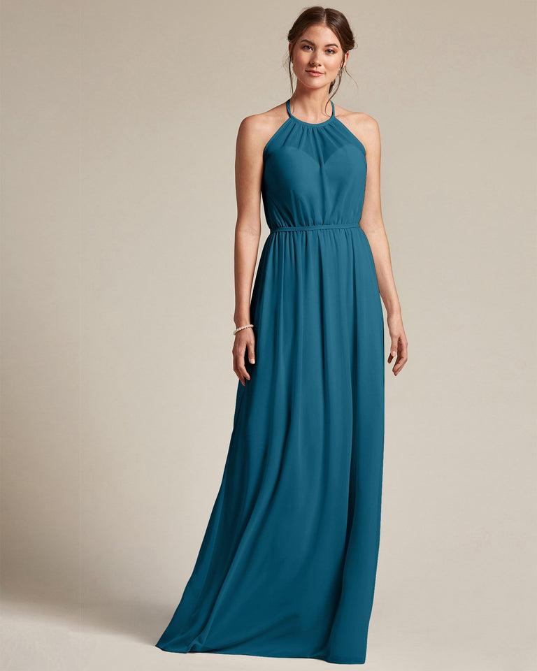 Ink Blue Sheer Halter Top Bridesmaid Gown With Long Length Chiffon Skirt