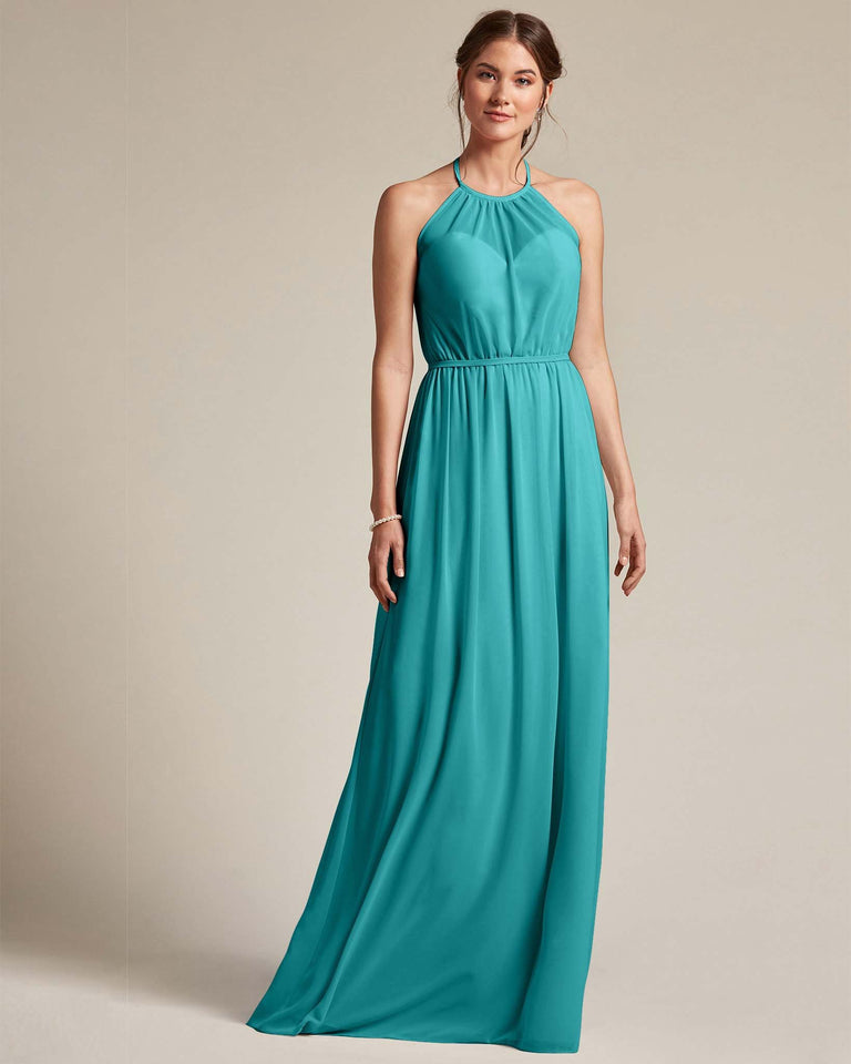 Jade Sheer Halter Top Bridesmaid Gown With Long Length Chiffon Skirt