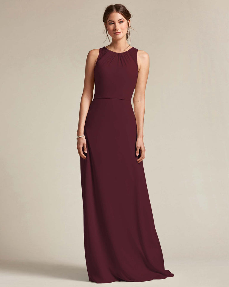 Claret Bateau Embroidered Shoulder Top Bridesmaid Gown