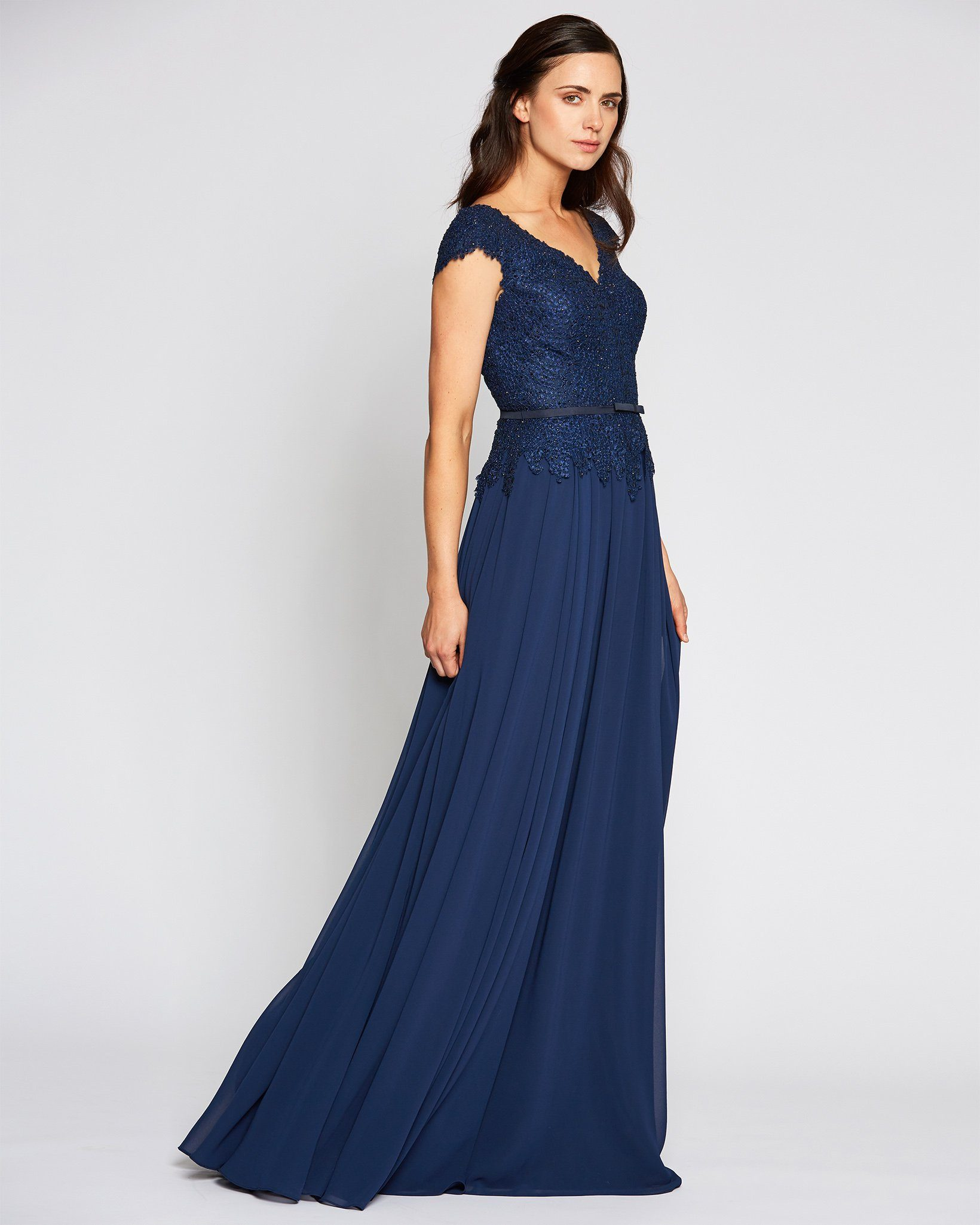 Navy Blue Beaded Cap Sleeve Evening Dress