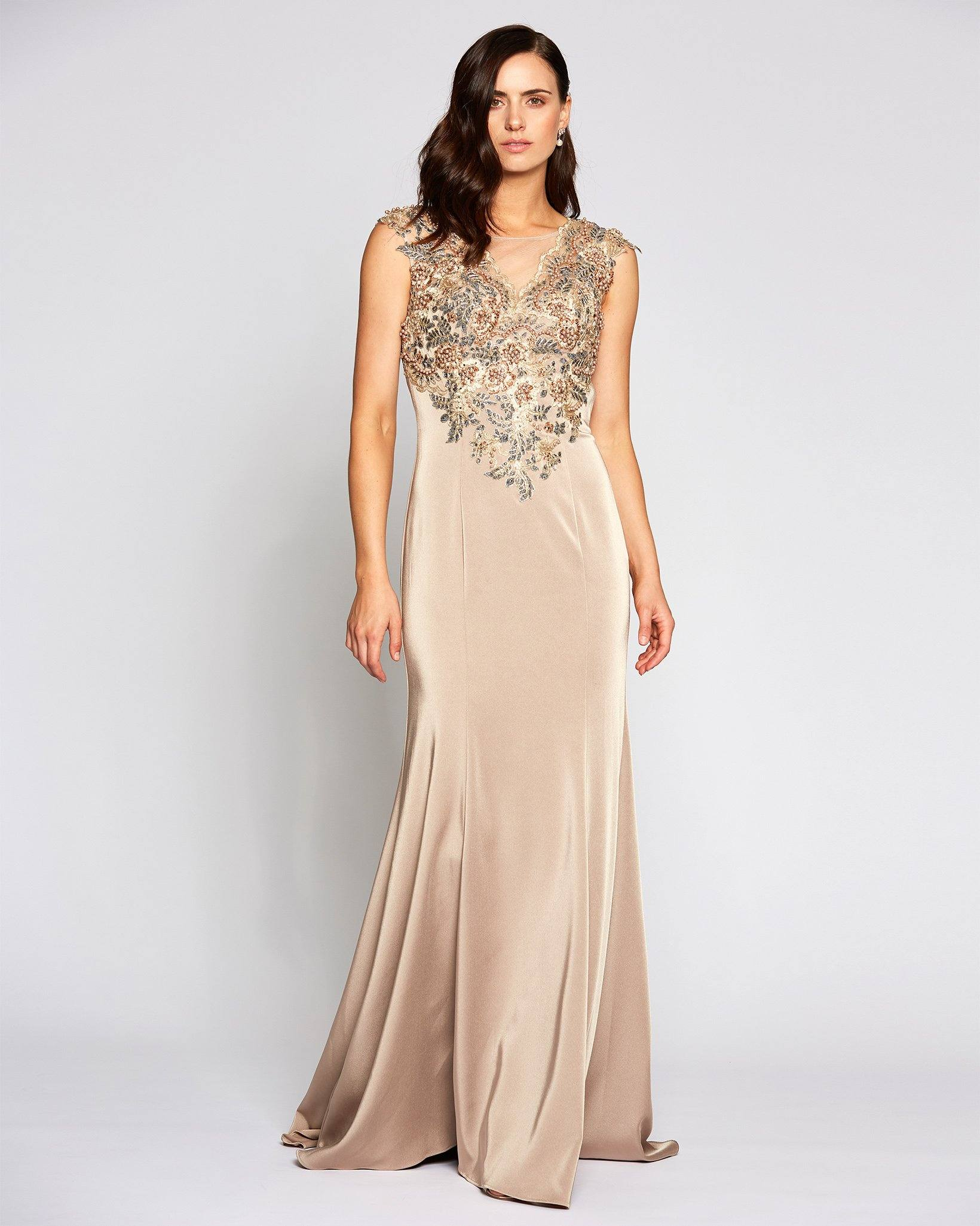 [Pre-Order] Tan Multi Color Embellished Evening Dress