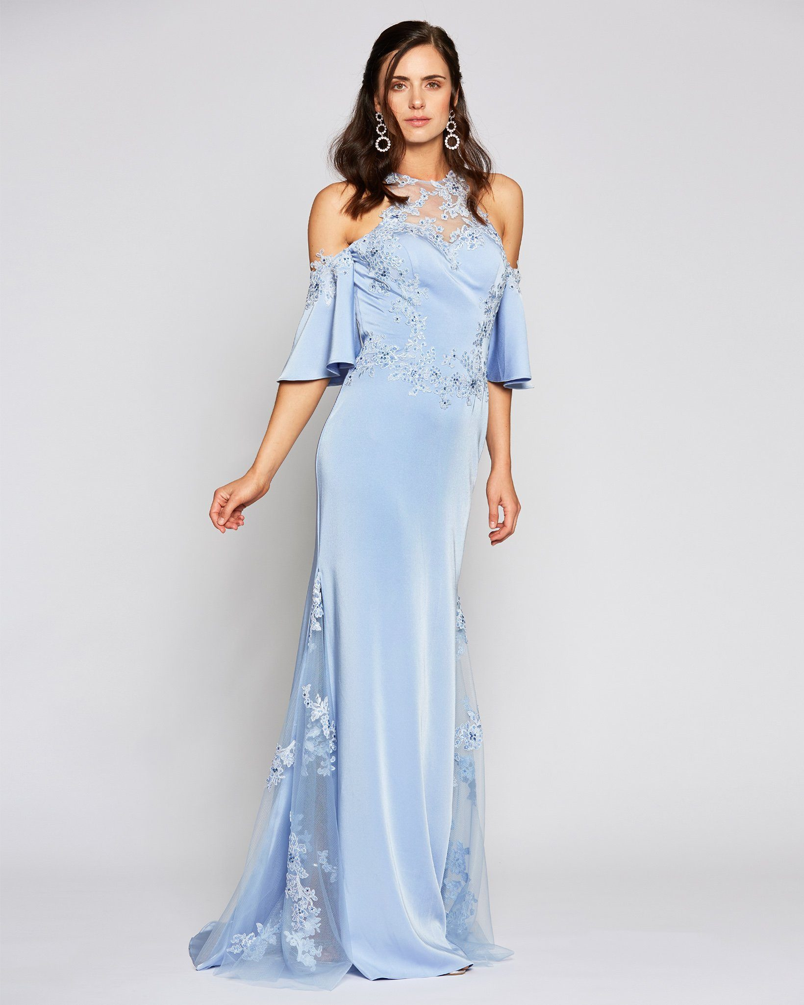 [Pre-Order] Blue Embellished Bell Cap Sleeve Tulle Dress