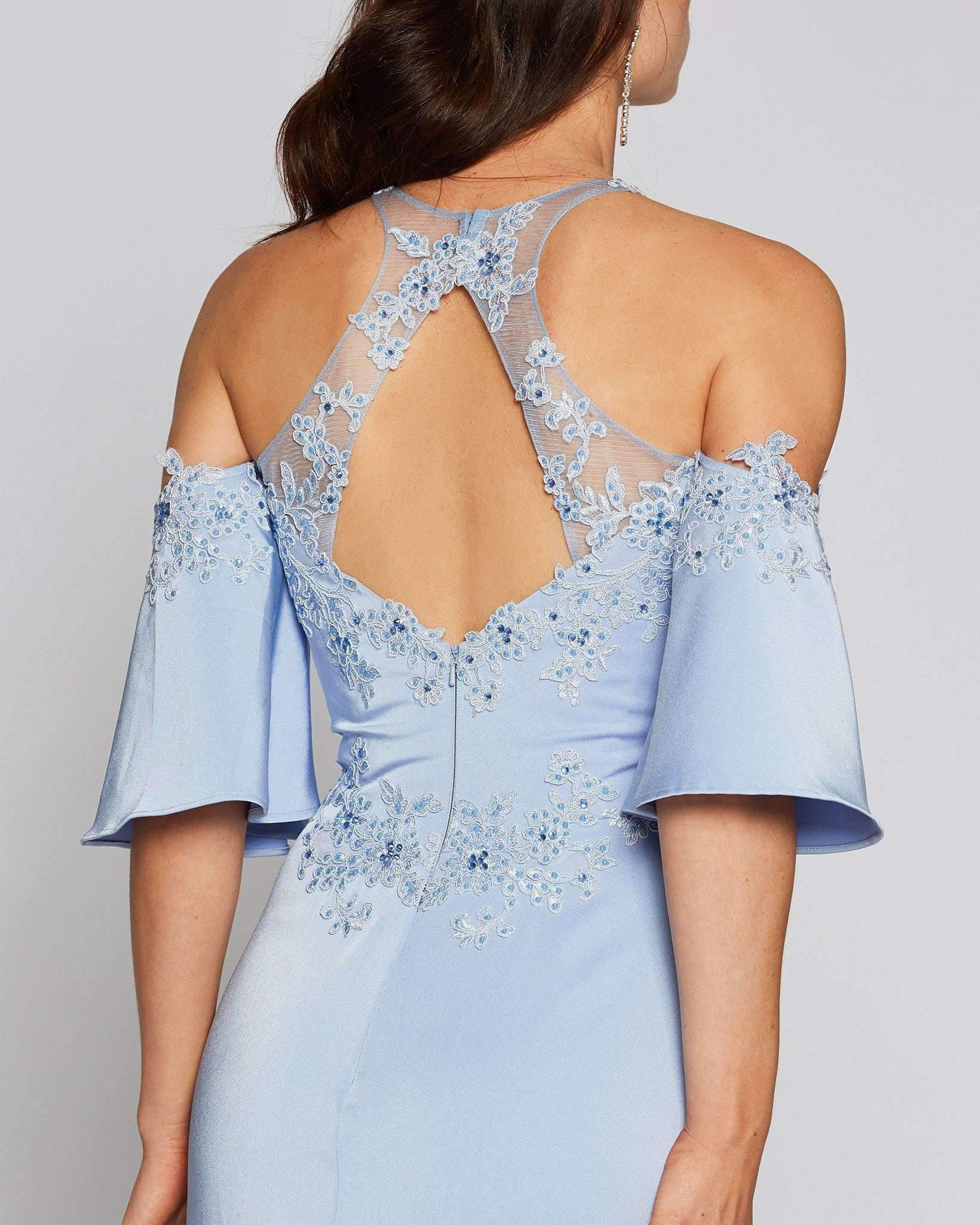 Blue Embellished Bell Cap Sleeve Tulle Dress