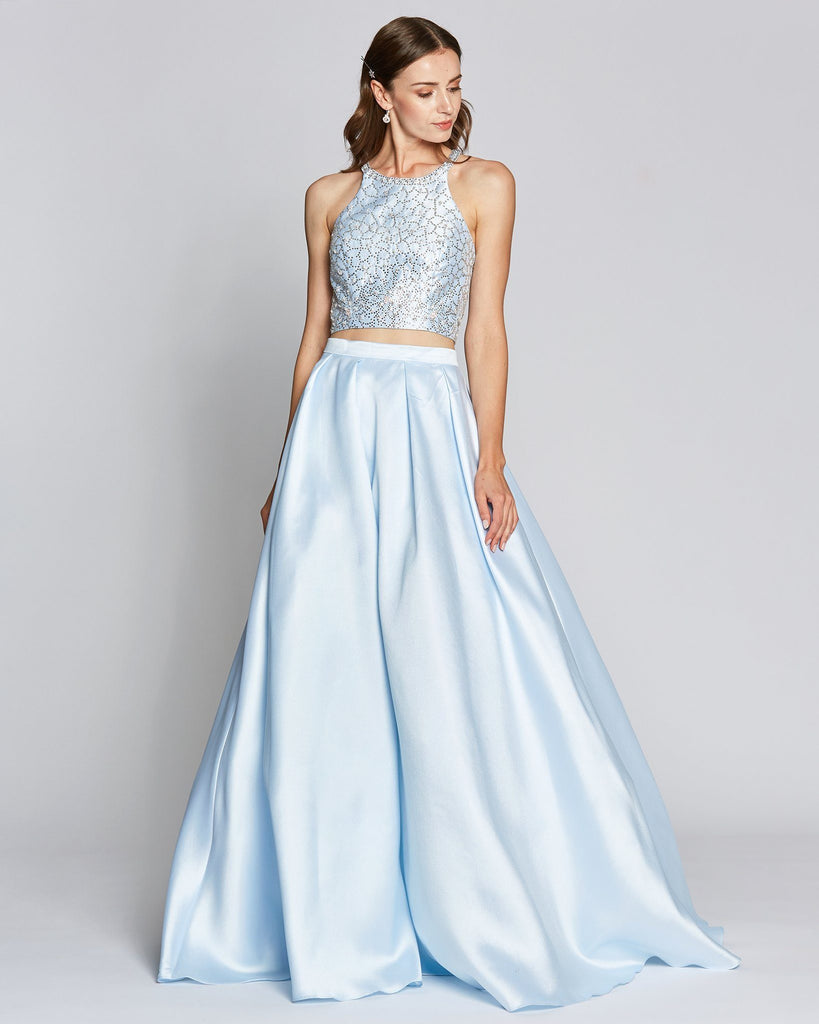 Sexy Top Baby Blue Ball Gown