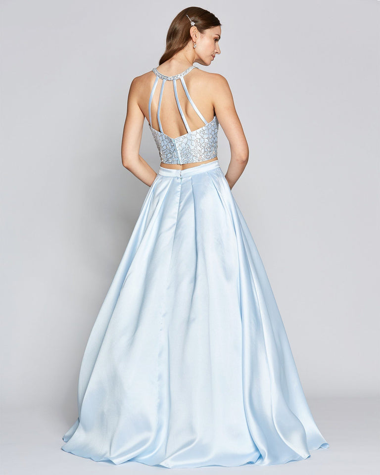 Blue Two Piece Halter Ball Gown