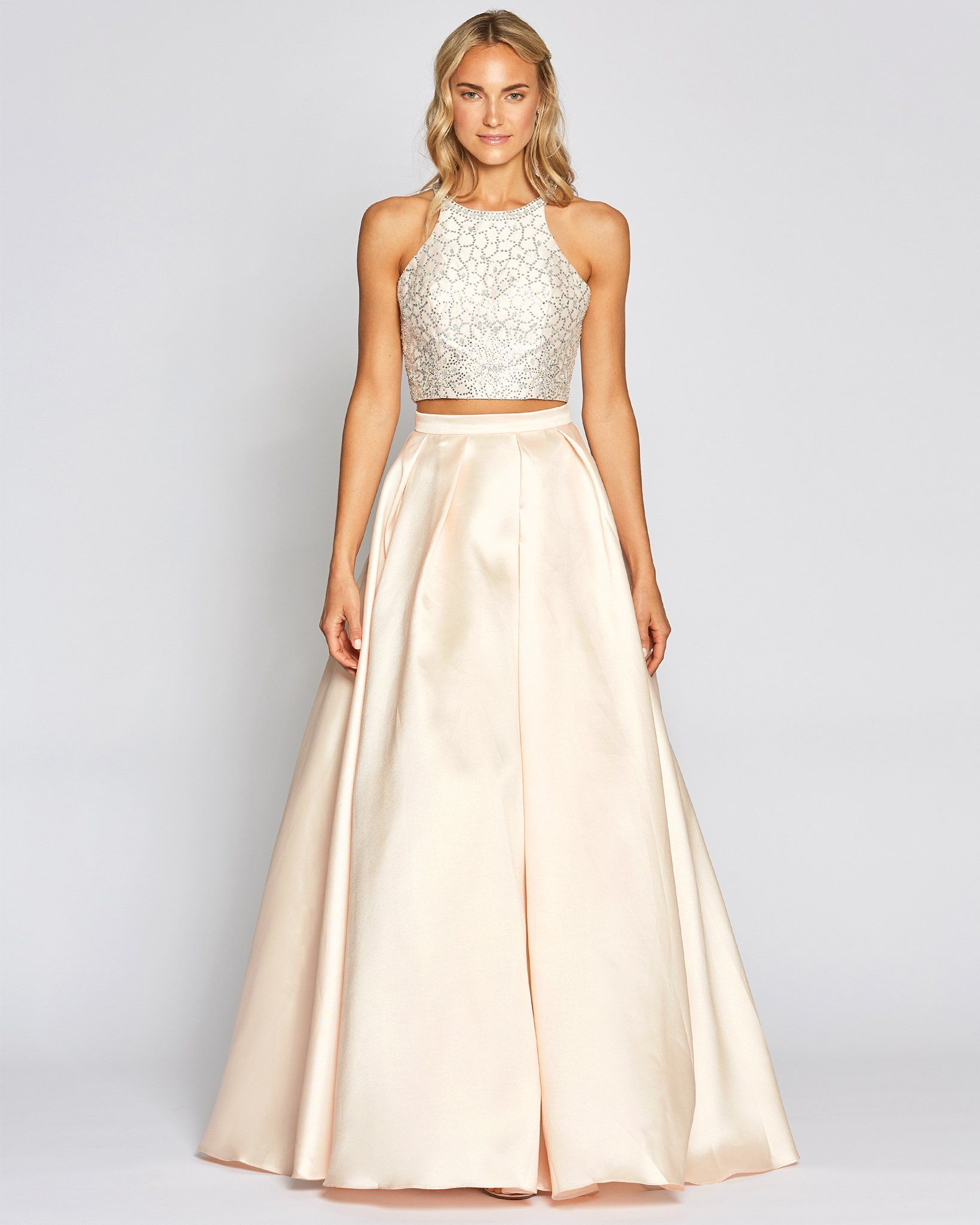 Apricot Two Piece Halter Ball Gown