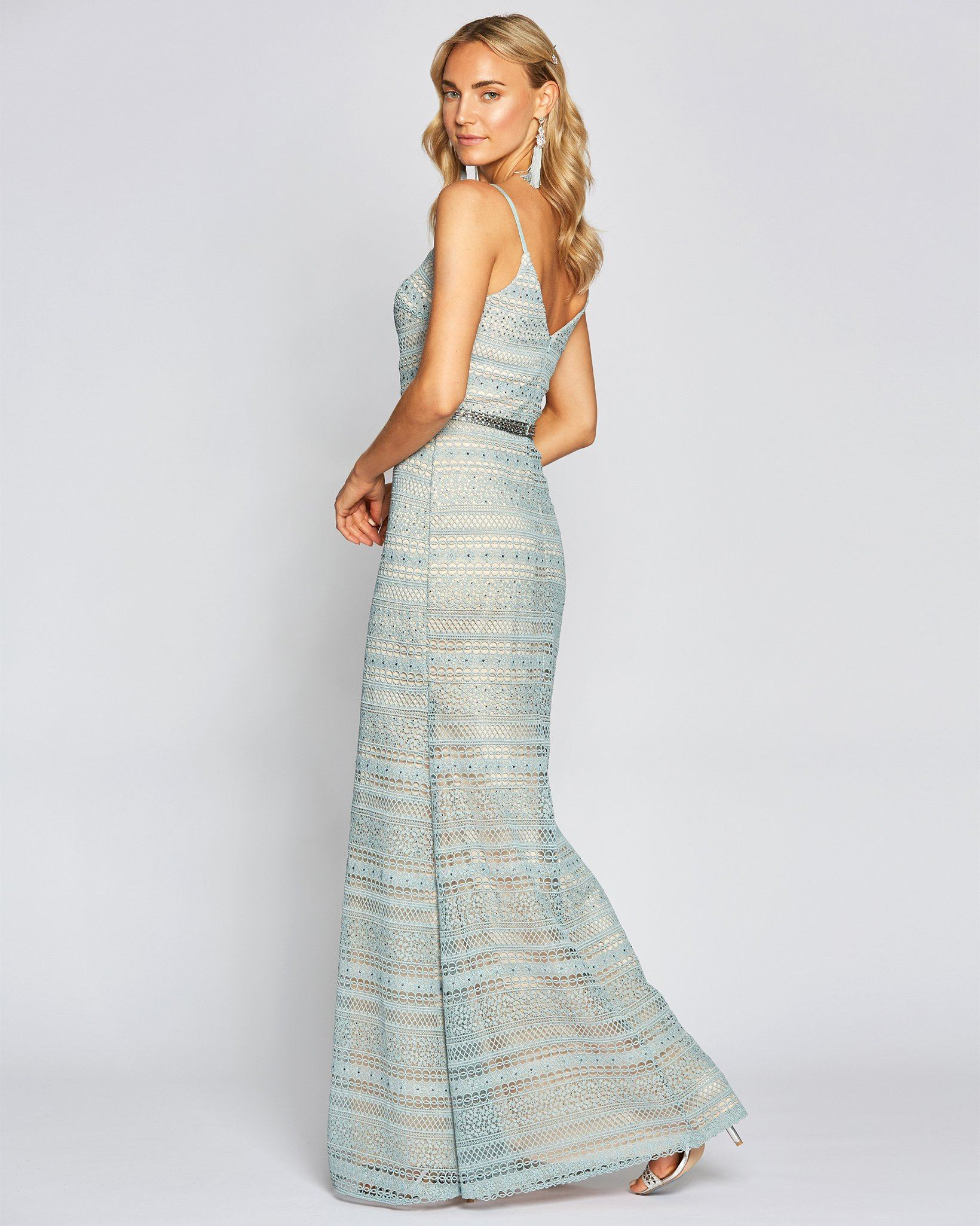 Sage Sexy Crochet Formal Dress