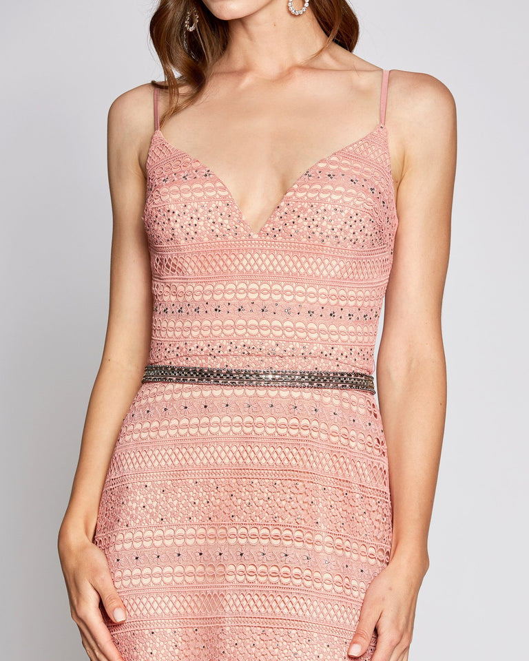 Pink Sexy Crochet Formal Dress