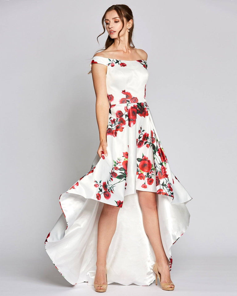 White Rose Print High Low Dress