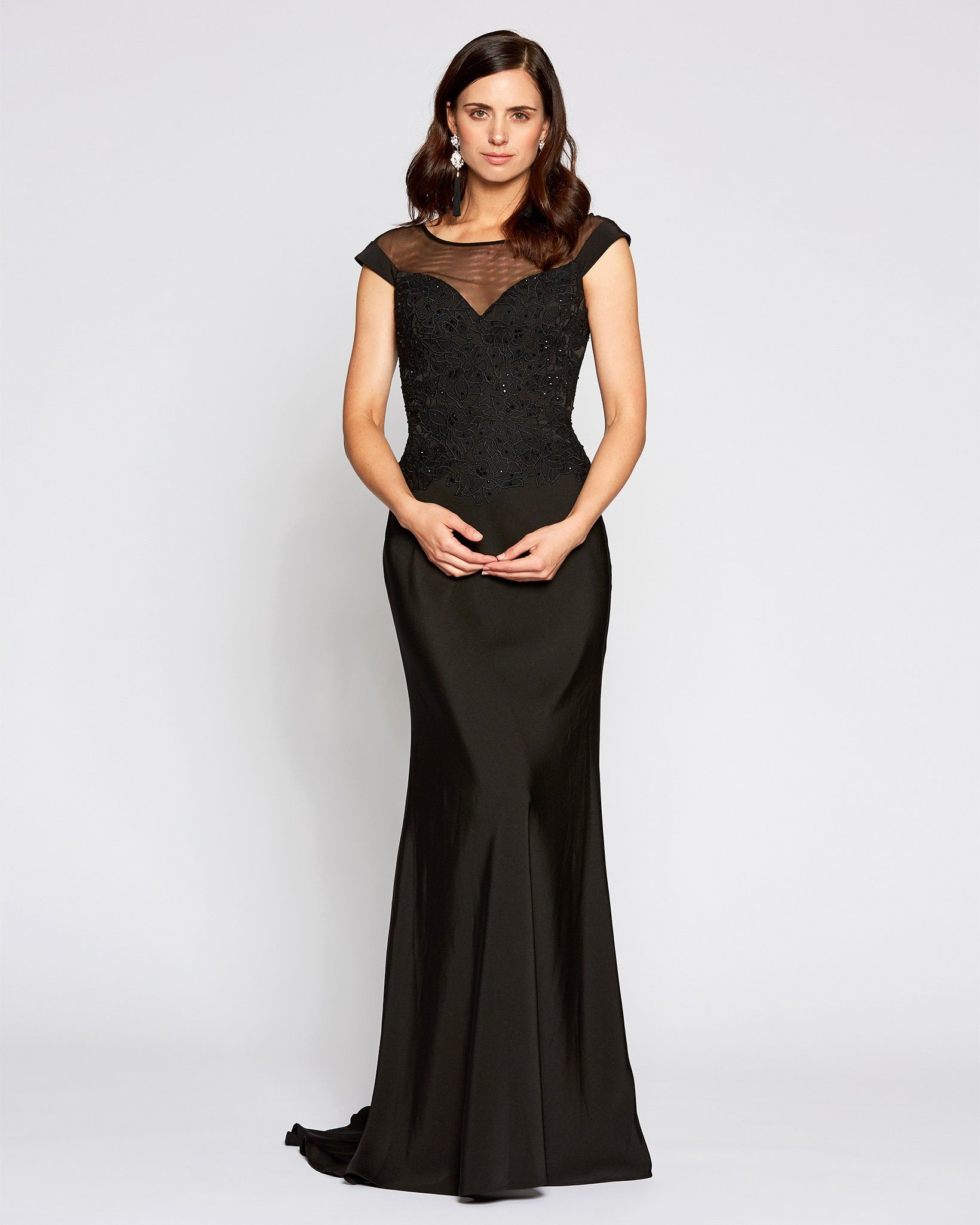 [Pre-Order] Black Cap Sleeve Illusion Neckline Gown