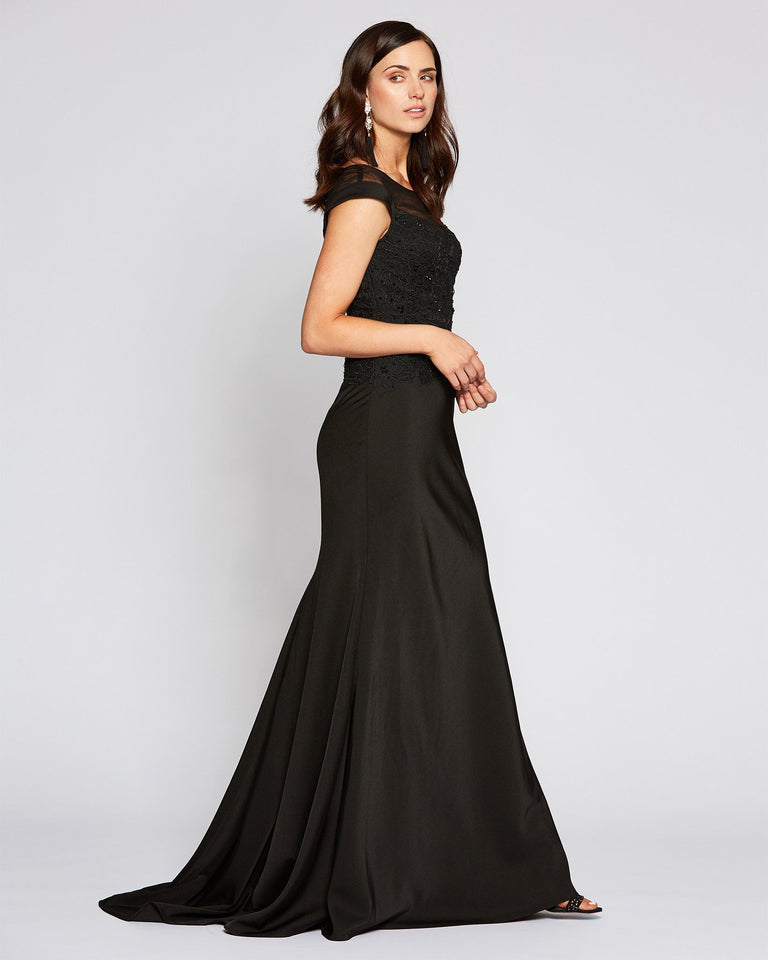 Black Cap Sleeve Illusion Neckline Gown