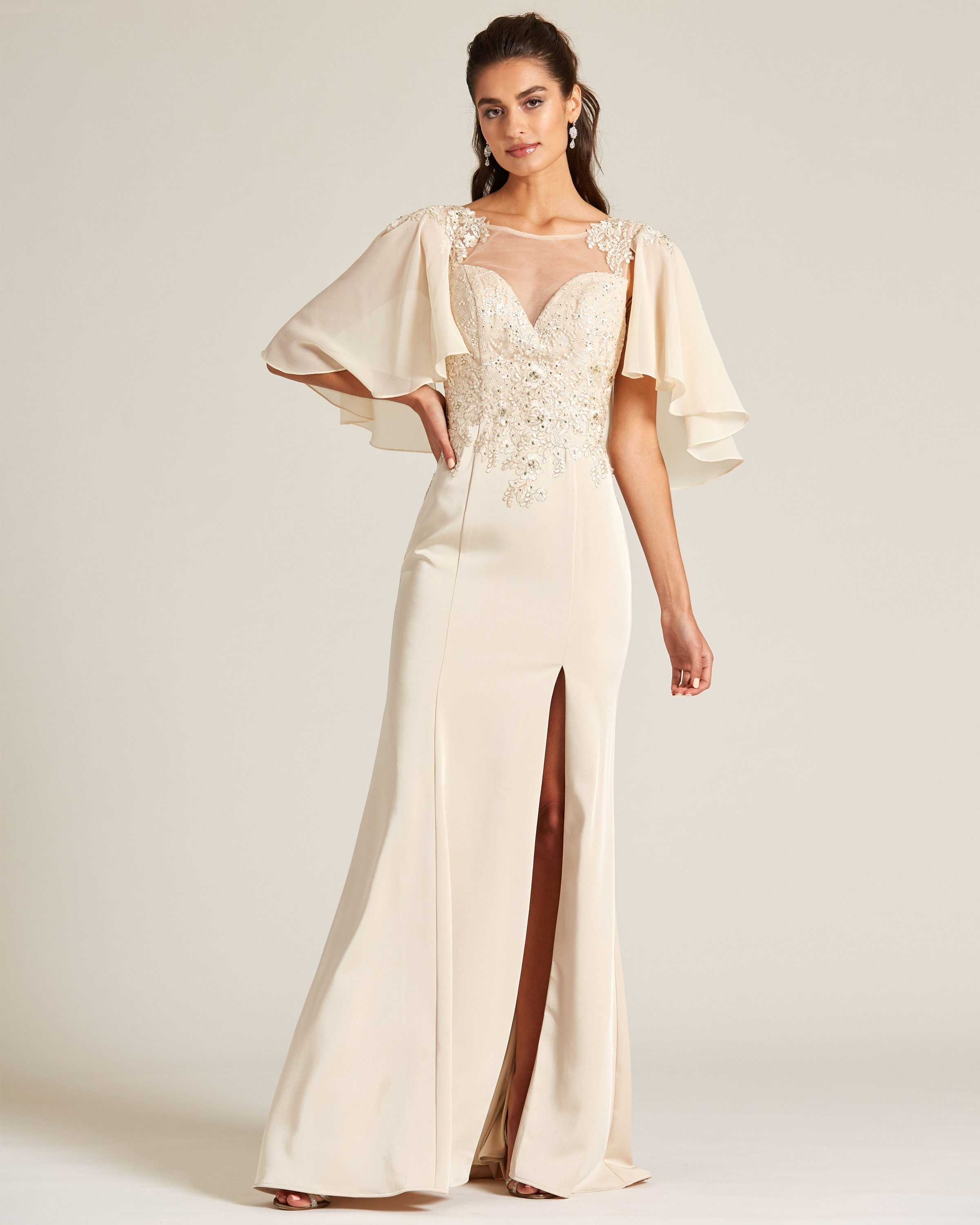 Cream Vintage Style Evening Gown