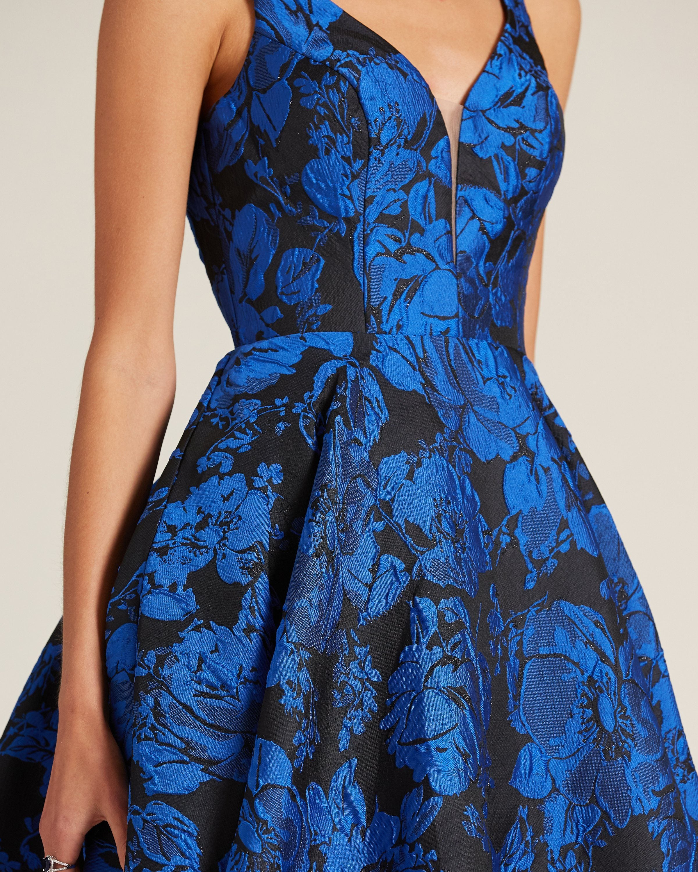Blue Print Sleeveless Tea Length Dress