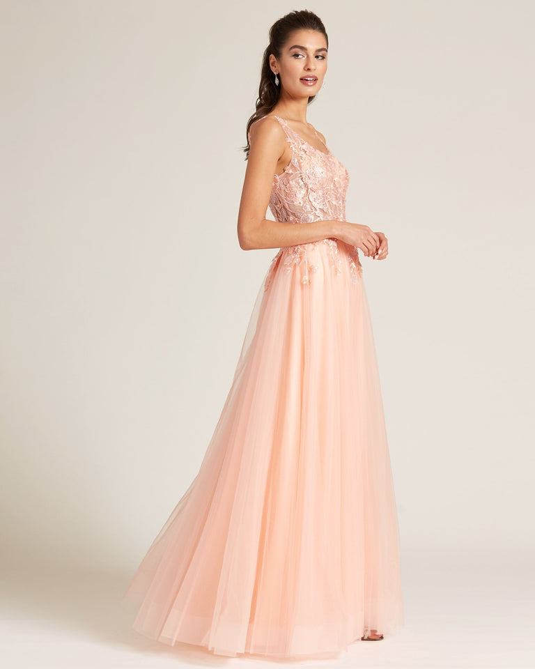 Princess Coral Floral Applique Chiffon Skirt Gown