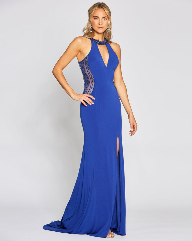 Royal Blue Sexy Slit Dress