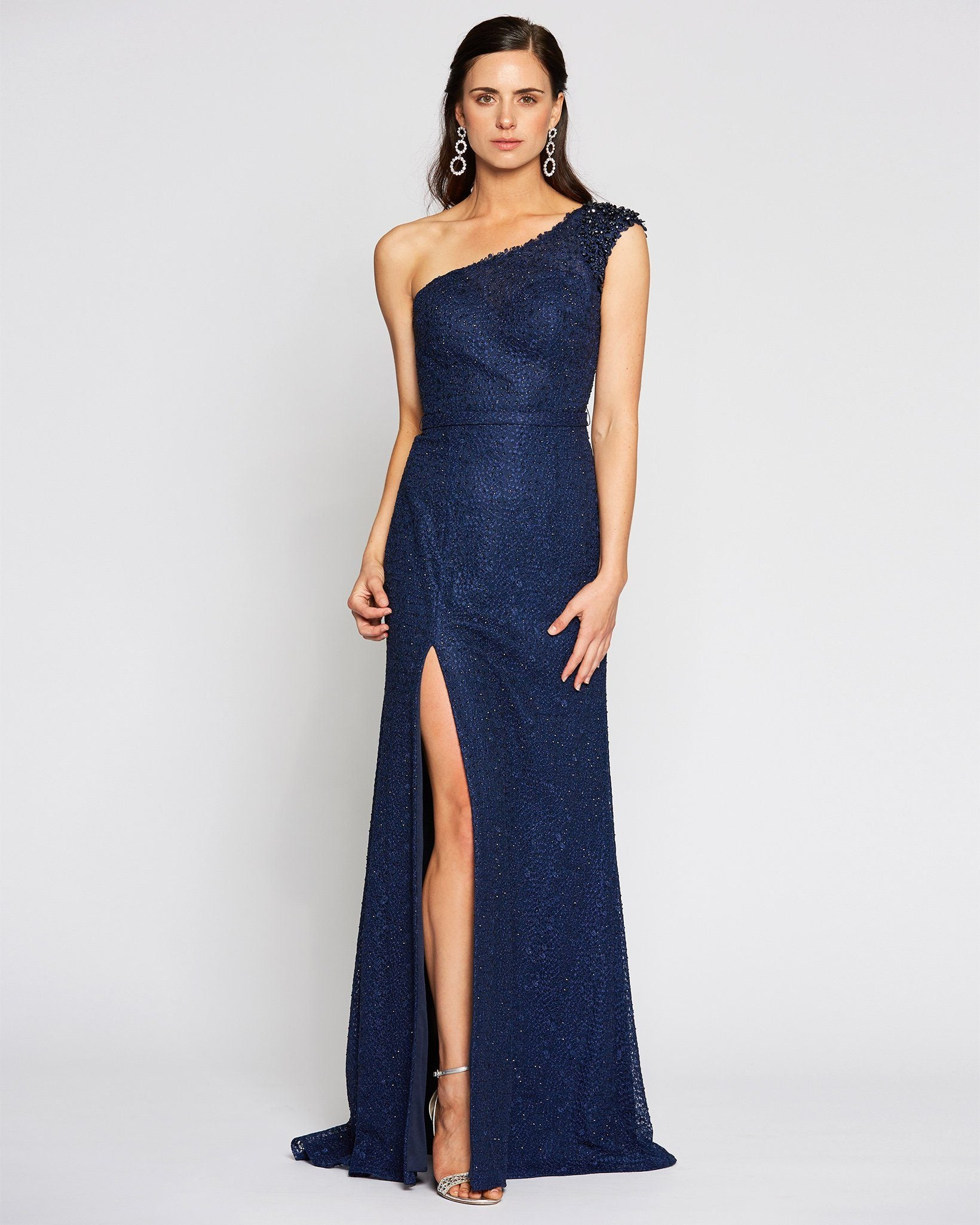 Navy One Shoulder Sexy Slit Dress