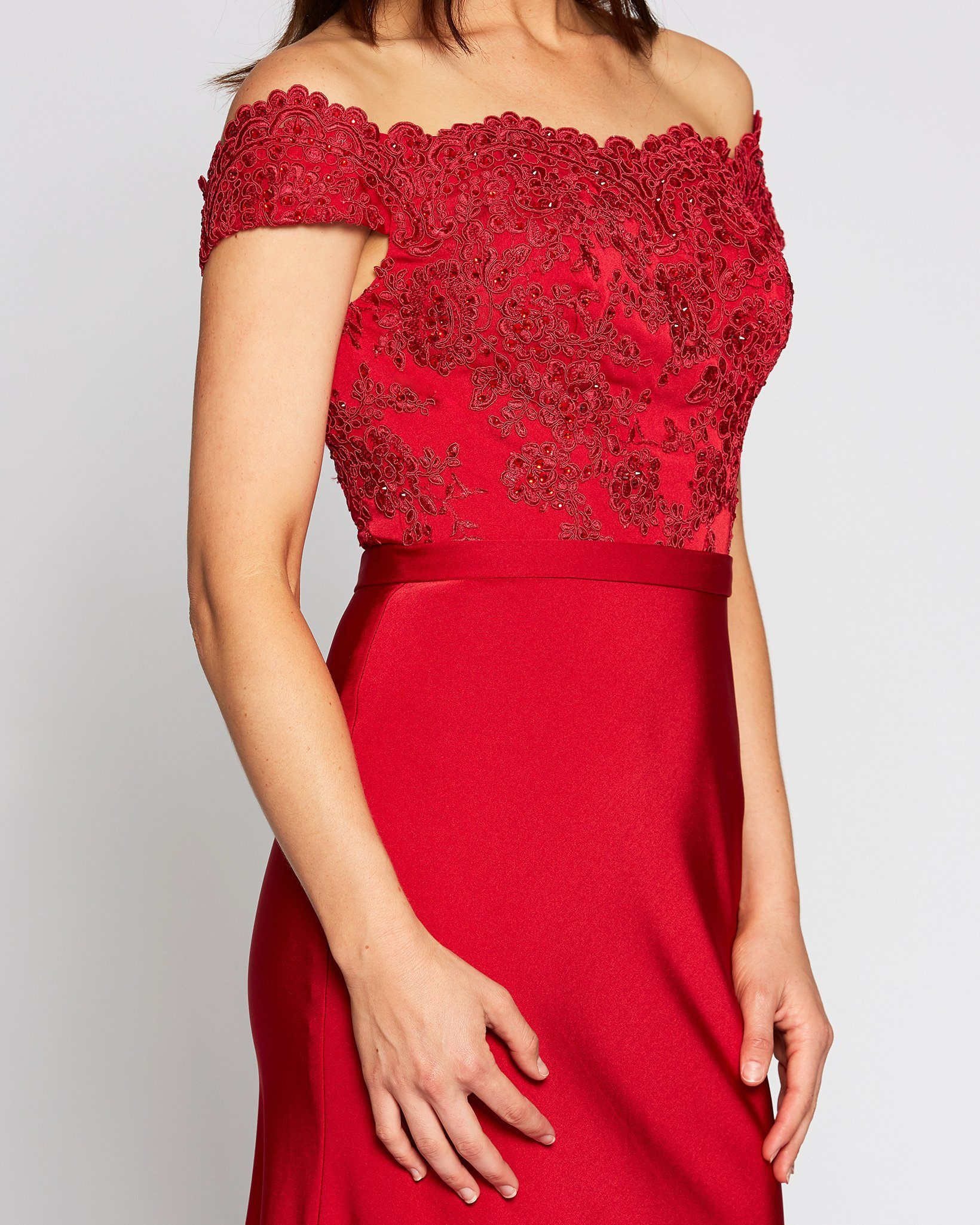 Red Off Shoulder Embroidered Dress
