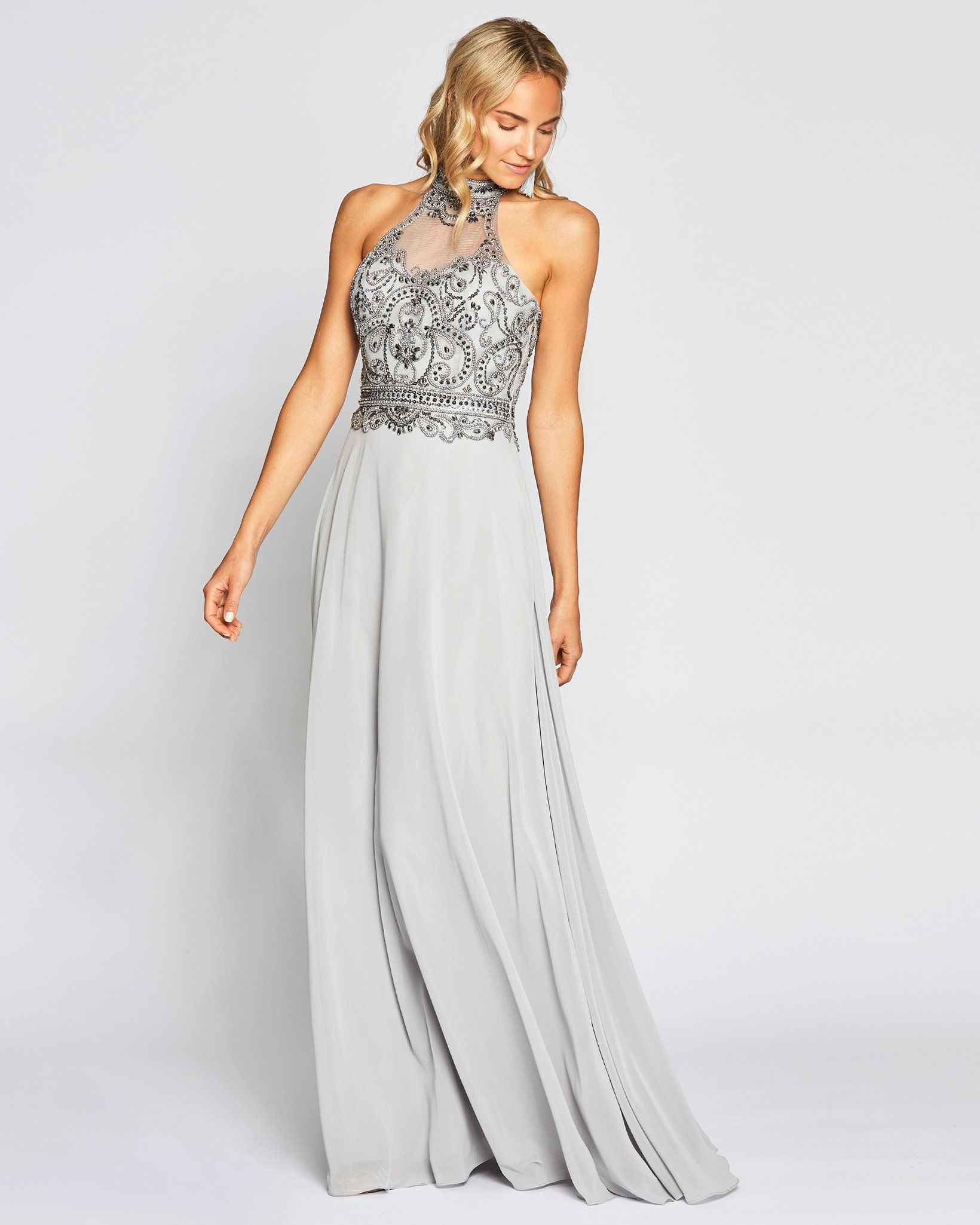 Silver Grey Embellished Halter Gown