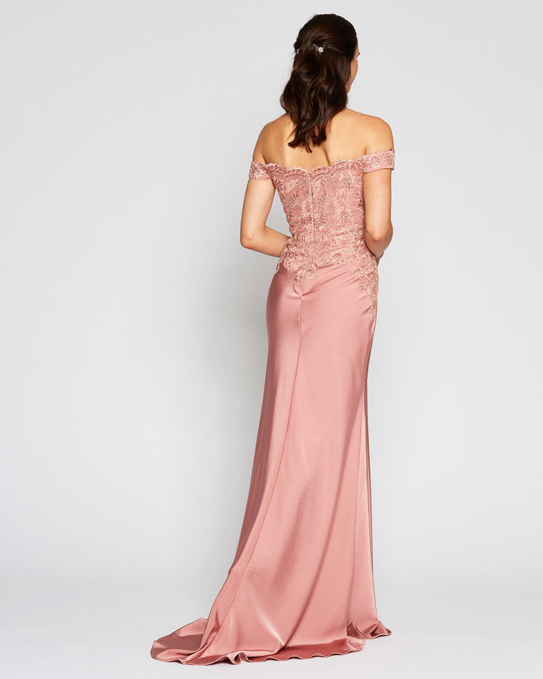 [Pre-Order] Classic Off Shoulder Pink Evening Gown