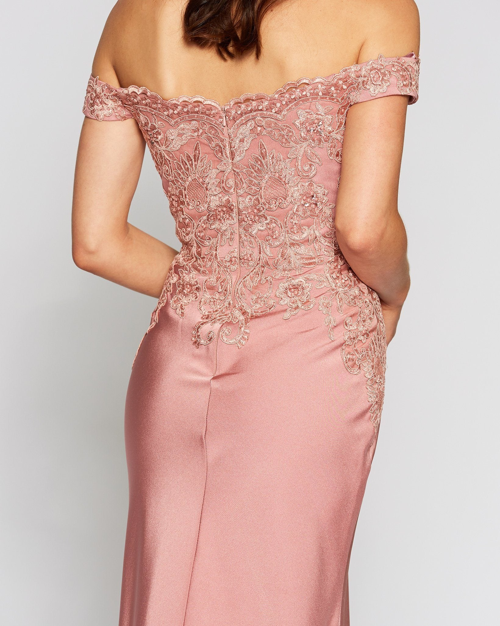 Classic Off Shoulder Pink Evening Gown