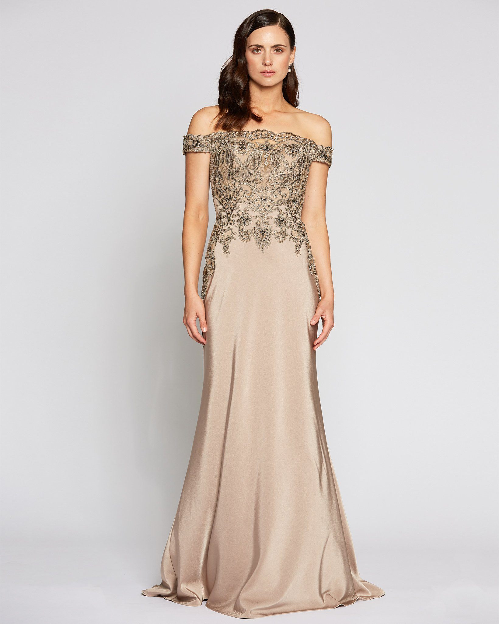 [Pre-Order] Classic Off Shoulder Tan Evening Dress