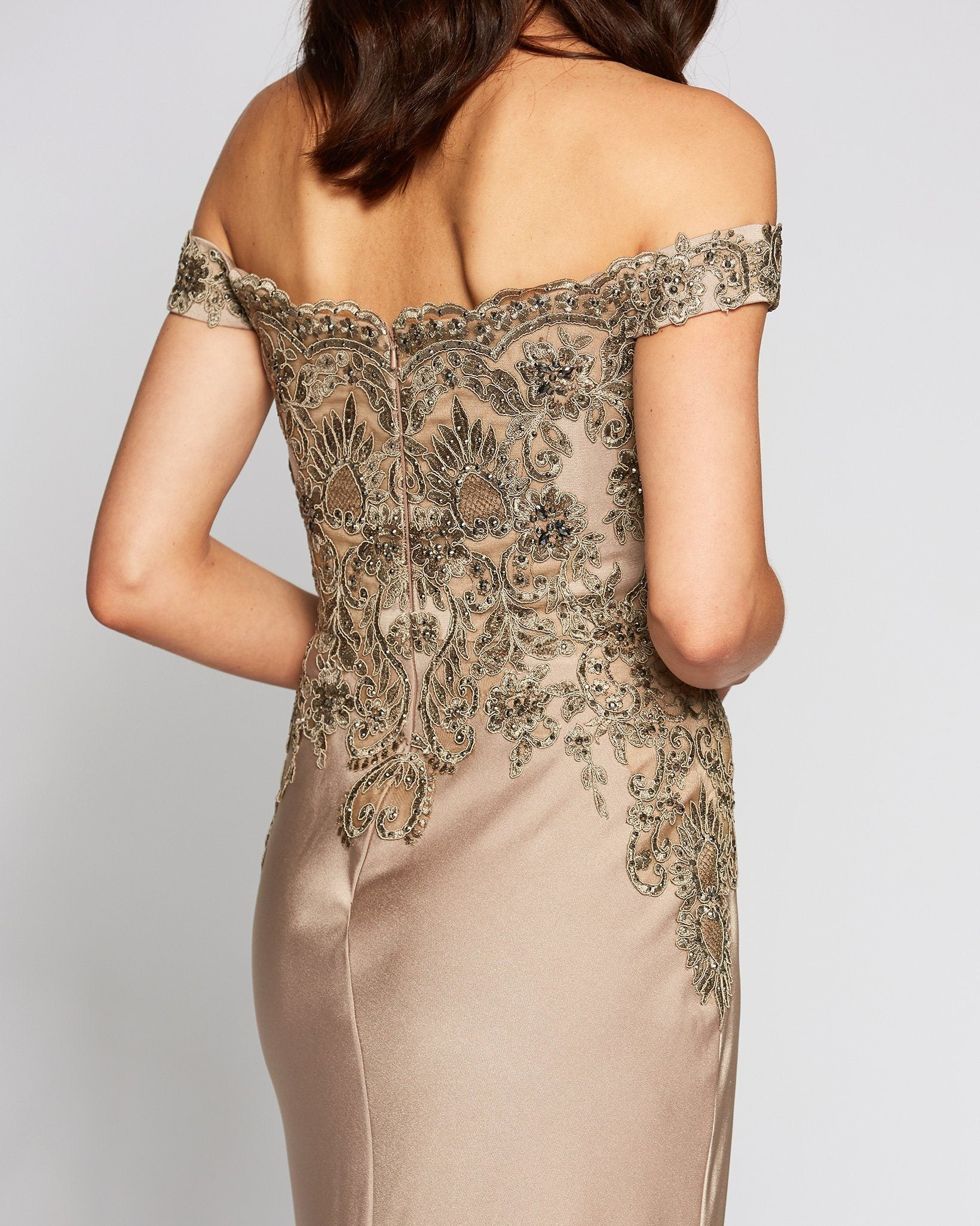 Classic Off Shoulder Tan Evening Dress