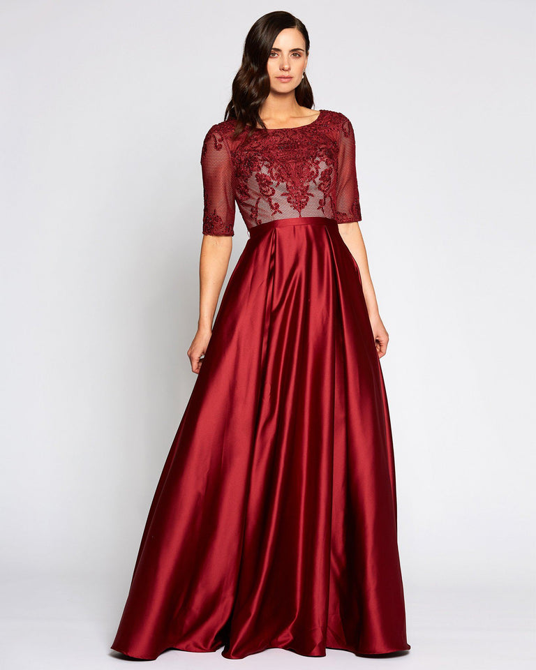 Red Short Sleeve Satin Skirt Dress