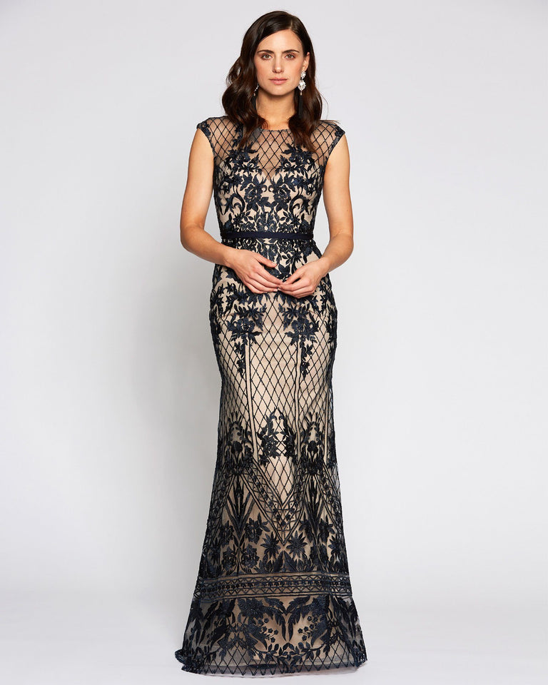 Navy Crochet Formal Long Dress