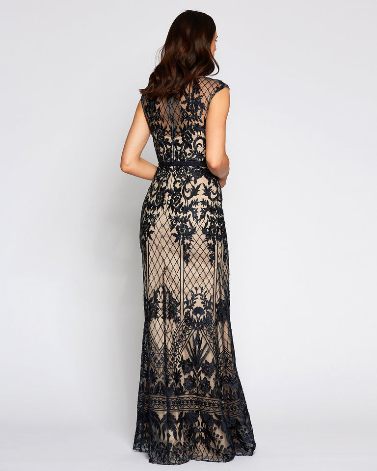 Navy Crochet Formal Crochet Long Dress